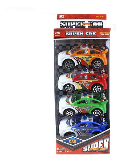Set De Cuatro Autos Policias Super Cars Full
