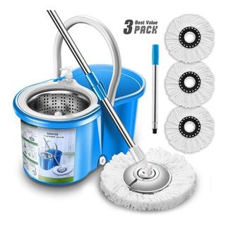 Trapeador Centrifugo Movil 3 Microfibras Aootek Azul
