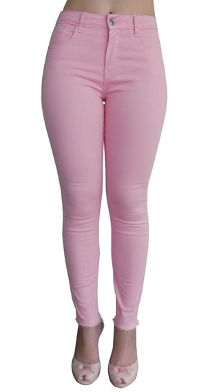 Calça Feminina Jeans Colorida Cintura Alta Skiny Rosa Brinde