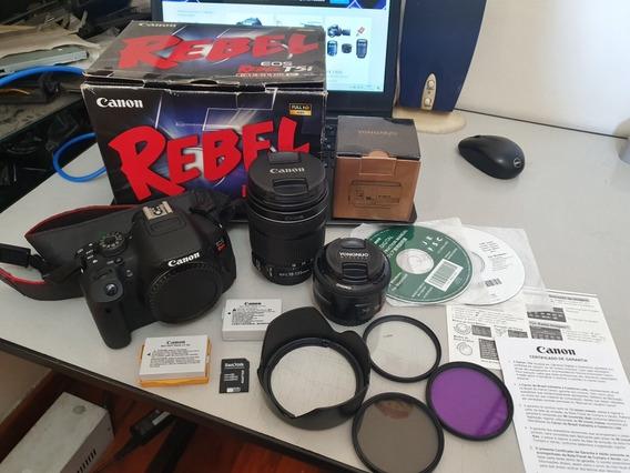 Camera Canon T5i C Lentes 18-135 E 50mm F1.8 C 2 Baterias