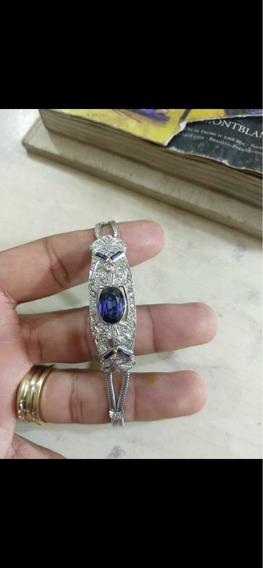Bracelete De Ouro Branco Com Safiras E Diamantes