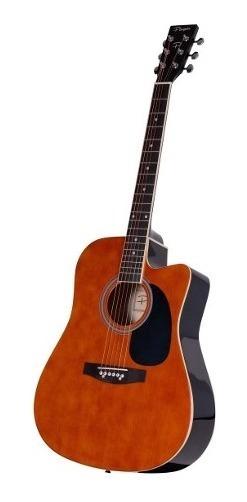 Guitarra Acustica Parquer Master Marron Con Corte Y Funda