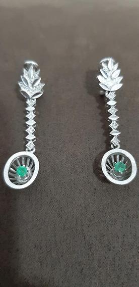 Par De Aretes De Plata Paladio Con Diamantes Y Esmeralda