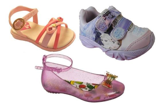 Lote Kit Calçados Menina Bebê 21 22 Sandalia Tenis Frozen
