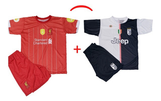 Kit Camisa Liverpool + Juventus Conjuntos Infantis