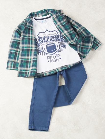 Conjunto Camisa Xadrez E Calça Jeans Para Menino Arizona