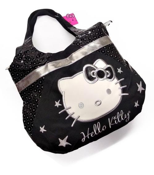 Bolsa Hello Kitty Original Estilo Hobo, Bordada Color Plata