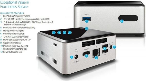 Pc Nuc Intel Celeron® N2830 2,41ghz 4gb Hd 500gb 12v 3a