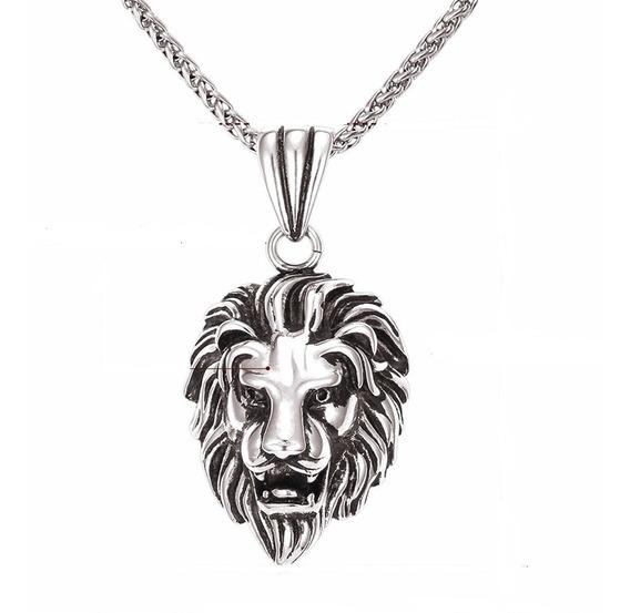 Colar Masculino Pingente Cabeça Leão Dourado Prata Aço C315