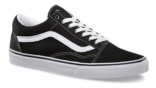 Tenis Vans Old Skool Negro/blanco Puntera Gamuza 3hy28