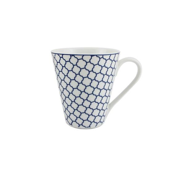 Caneca Em Porcelana Casambiente Agatha Rendas 330ml Azul