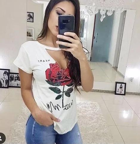 Camiseta Rosas Blusa Gola Chocker Moda 2018