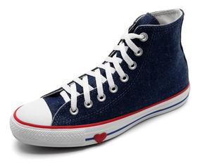 Tênis Cano Alto Converse Chuck Taylor All Star Jeans Coração