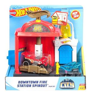 Hot Wheels Estacion De Bomberos + Vehiculo Mattel Original