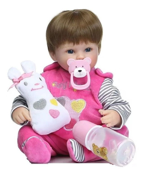 Bebe Baby Reborn Barato - Larinha Rosa - Boneca Silicone