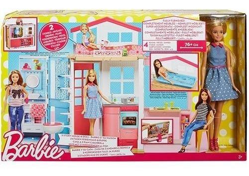 Boneca Barbie Real Casa Com Boneca Mattel Dvv48