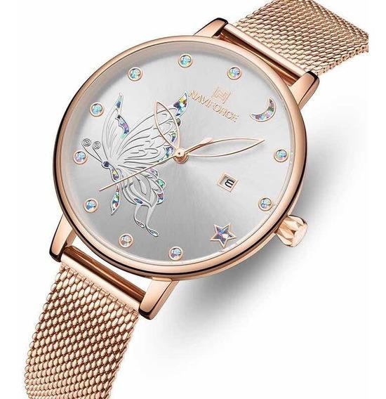 Relógio Feminino Naviforce Nf5011l Pulseira Em Aço