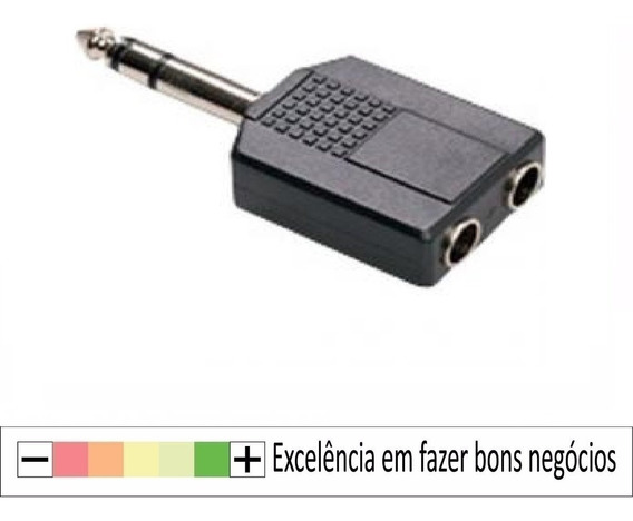 10x Adaptador Plug P10 Stero 2 Jack P2 Fêmea