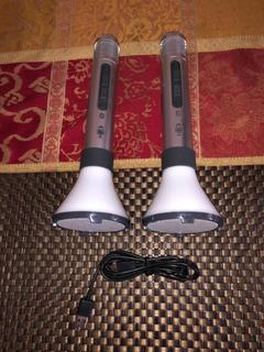 2 Bocinas Micrófonos Bluetooth Karaoke Singin Machine Usadas