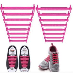 2 Pares Agujetas Silicón Elásticas Tenis Zapatos Cordones