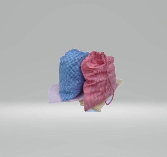 Bolsitas De Tela Jardín De Infantes Cuadrillé Colores