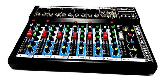Mesa De Som Bluetooth Usb Mixer Mp3 Display Digital 6 Canais