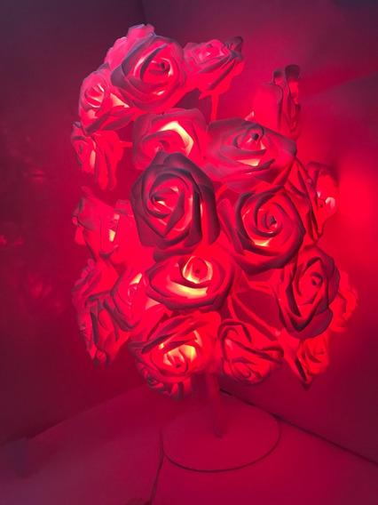 Árvore Abajur Led Decoração Flor 24 Rosas Vermelho 220v