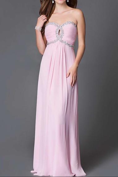 Vestido De Fiesta Rosa Largo Con Pedrería