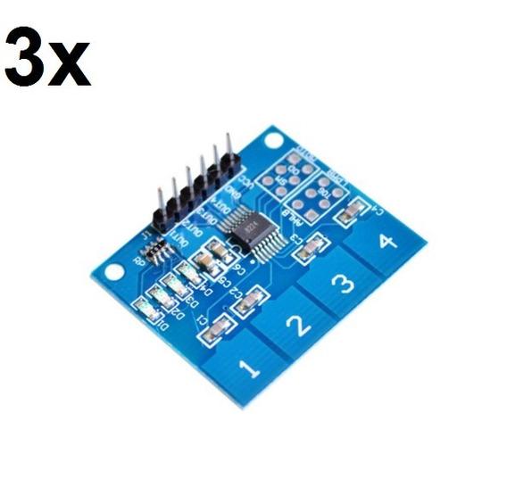 3x Teclado Módulo Sensor Touch Capacitivo 4 Vias Ttp224