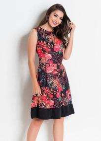 Vestido Feminino Midi Com Recorte Floral Moda Evangélica