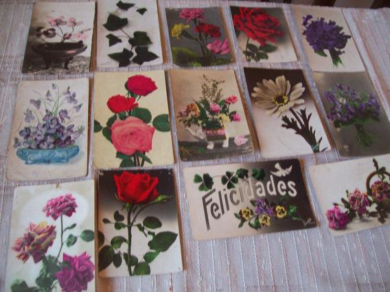 Lote De 15 Preciosas Postales Antiguas Motivo De Flores
