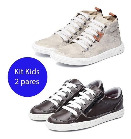 Kit 2 Pares Sapatênis Infantil Avalon Kit 11 Café/cinza