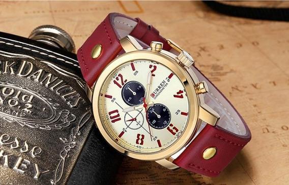 Relógio De Pulso Curren 8192 Pulseira De Couro Prova D