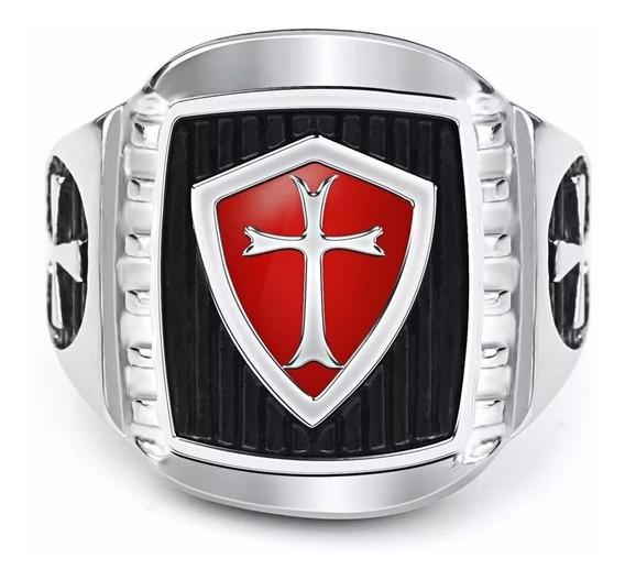 Anel Masculino Aço Inox Cavaleiro Templario Medieval An16