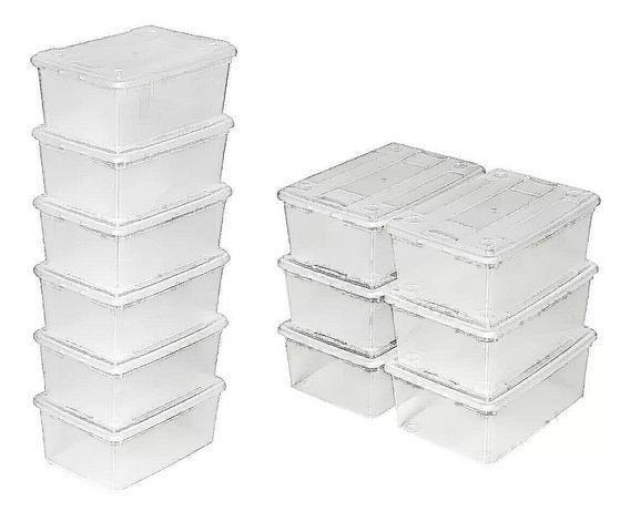Cajas De Plástico Grande Para Zapatos Transparente Con Tapa 10 Pzas