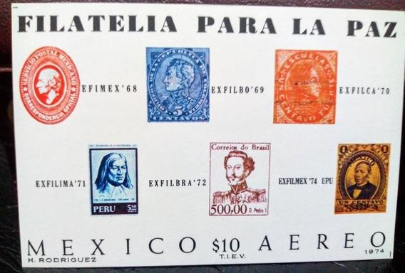 3 Hojas Exposición Filatelica México 1974, 1979 Y 1985. Mnh