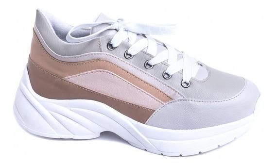 Tênis Chunky Sneaker Em Napa Off White, Rosê E Bege