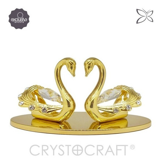 Casal De Cisnes Em Ouro 24k Cristais Swarovski