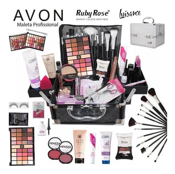 Maleta Maquiagem Completa Grande Avon Ruby Rose Brinde