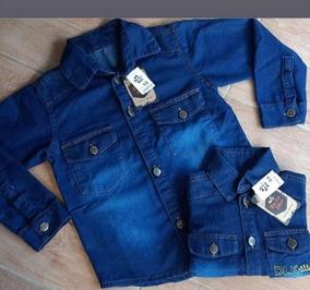 Camisa Manga Longa Jeans Infantil Masculina
