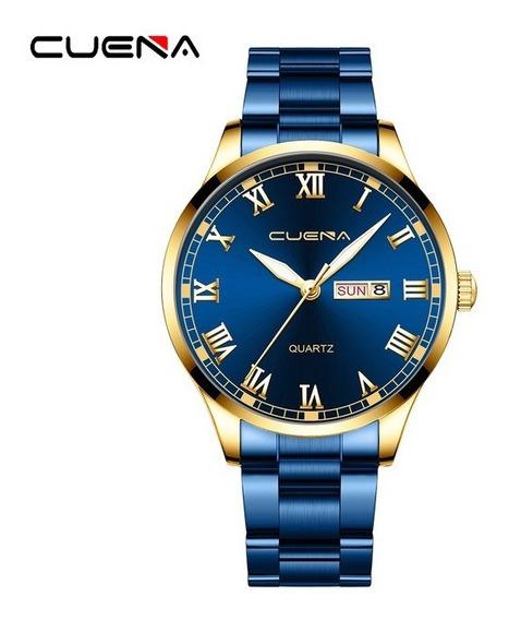 Relógio De Luxo Masculino Dourado, Rose E Azul