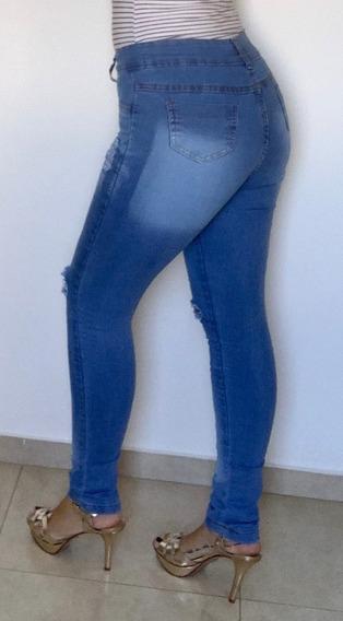 Calças Jeans Feminina Cintura Alta Lycra Levanta Bumbum