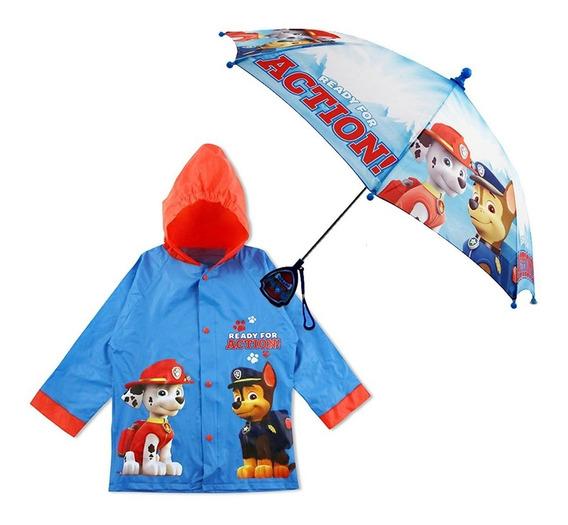 Impermeable Y Paraguas Para Niño Paw Patrol Azul Nickelodeon