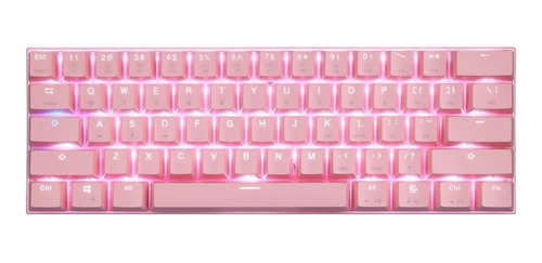 Imagen 1 de 3 de Teclado gamer bluetooth Motospeed CK62 QWERTY Outemu Blue inglés US color rosa con luz RGB