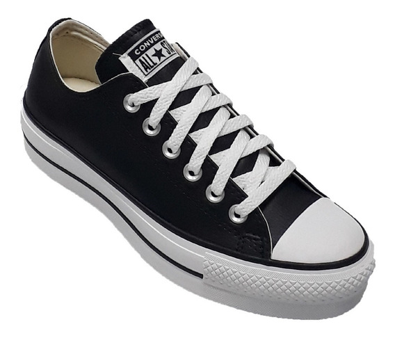 Zapatilla Converse All Star Low Plataforma Cuero Ngo/bco