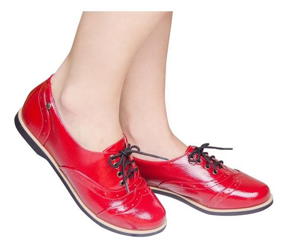 Sapato Oxford Feminino Preto Verniz 805