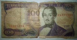 Billete 100 Pesos Oro 1 Enero 1977. (8 Dígitos)