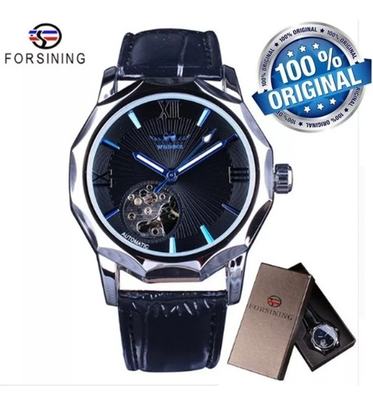 Relógio Masculino Forsining Winner Couro Estiloso Analogico Premium Militar Esportivo Pulseira Luxo Original Promoçao