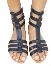 Sandalia Rasteira Gladiadora Fivelas Ziper Traseiro Promo