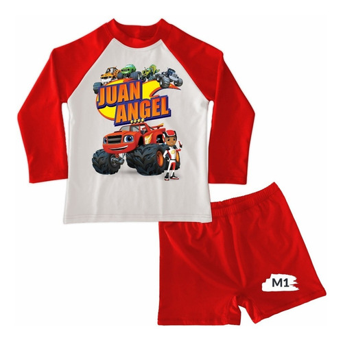 Traje De Baño Niño Conjunto Blaze And The Monster Machines